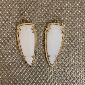 White and gold Kendra Scott earrings